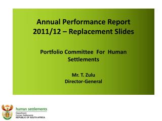 Annual Performance Report  2011/12 – Replacement Slides