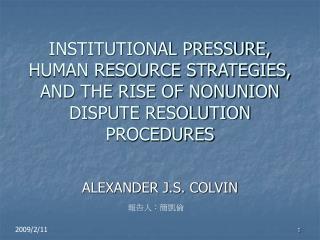 ALEXANDER J.S. COLVIN