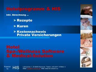 Hotelprogramm & HIS inkl. Abrechnung …        >  Rezepte        >  Kuren