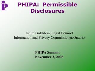 PHIPA:  Permissible Disclosures