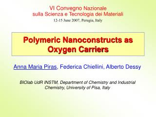 Polymeric Nanoconstructs as Oxygen Carriers