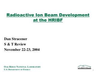 Radioactive Ion Beam Development  at the HRIBF