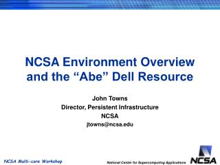 "NCSA Environment Overview and the ""Abe"" Dell Resource"
