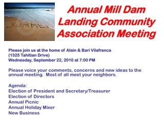 Annual Mill Dam Landing Community Association Meeting
