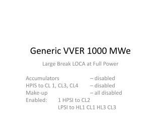 Generic VVER 1000 MWe