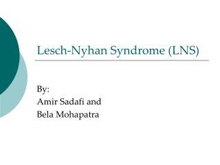 Lesch-Nyhan Syndrome (LNS)