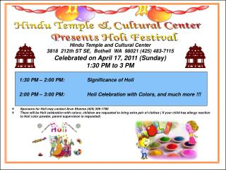 Hindu Temple and Cultural Center 3818  212th ST SE,  Bothell  WA  98021 (425) 483-7115
