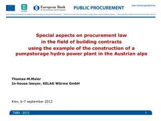 Special  aspects  on  procurement law in  the field of building contracts