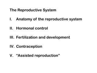 The Reproductive System  Anatomy of the reproductive system  Hormonal control  Fertilization and development  Contracept