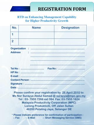 RTD on Enhancing Management Capability  for  Higher Productivity Growth