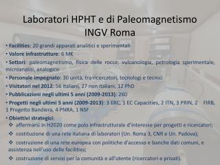 Laboratori HPHT e di  P aleomagnetismo INGV Roma