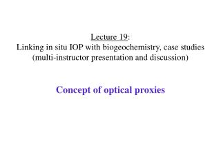 Concept of optical proxies
