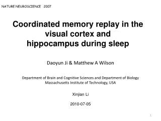 Coordinated memory replay in the visual cortex and hippocampus during sleep