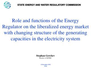 STATE ENERGY AND WATER REGULATORY COMMISSION