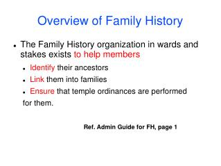 Overview of Family History