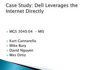 Case Study: Dell Leverages the Internet Directly