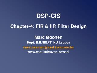 DSP-CIS Chapter-4: FIR & IIR Filter Design