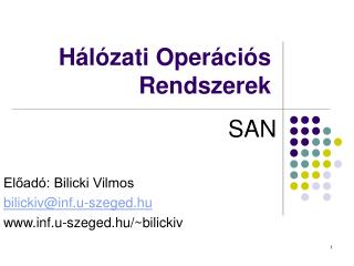 H�l�zati Oper�ci�s Rendszerek