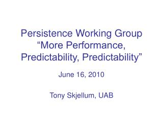 Persistence Working Group �More Performance, Predictability, Predictability�