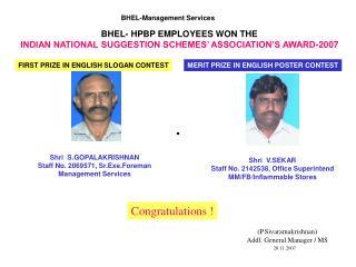 BHEL- HPBP EMPLOYEES WON THE INDIAN NATIONAL SUGGESTION SCHEMES' ASSOCIATION'S AWARD-2007