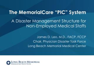 "The MemorialCare ""PIC"" System"