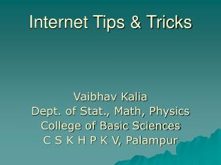 Internet Tips & Tricks