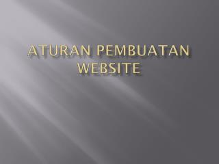 Aturan Pembuatan Website