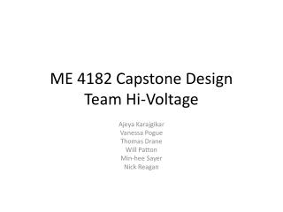 ME 4182 Capstone Design Team Hi-Voltage