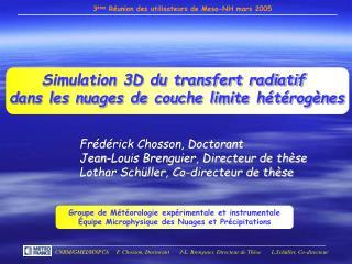 Simulation 3D du transfert radiatif  dans les nuages de couche limite h�t�rog�nes