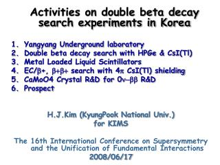 Activities on double beta decay search experiments in Korea