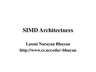 SIMD Architectures