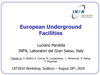 European Underground Facilities