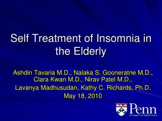 Self Treatment of Insomnia in the Elderly