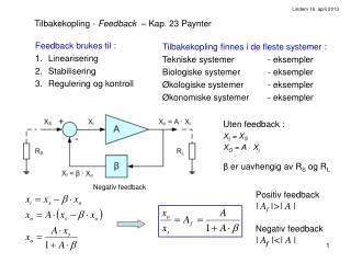 Tilbakekopling -  Feedback   – Kap. 23 Paynter