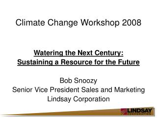 Climate Change Workshop 2008