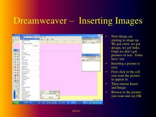 Dreamweaver –  Inserting Images