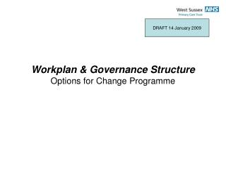 Workplan & Governance Structure  Options for Change Programme