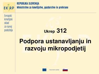 Ukrep  312 Podpora ustanavljanju in razvoju mikropodjetij
