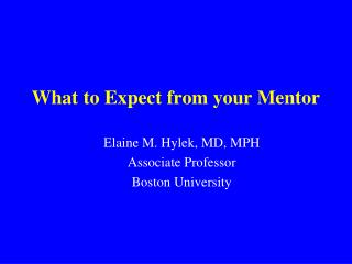 What to Expect from your Mentor