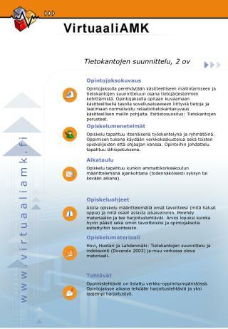 Tietokantojen suunnittelu, 2 ov