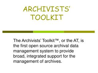 ARCHIVISTS  TOOLKIT