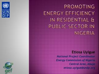 Promoting ENERGY EFFICIENCY IN residential & public SECTOR in Nigeria