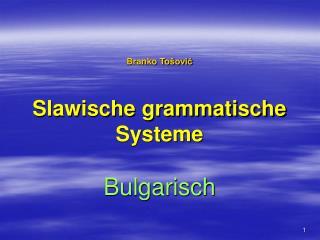 Branko To šović Slawische grammatische Systeme Bulgarisch