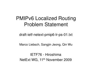 PMIPv6 Localized Routing Problem Statement