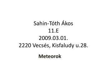 Sahin-Tóth Ákos 11.E 2009.03.01. 2220 Vecsés, Kisfaludy u.28.