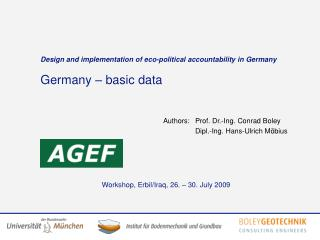 Design and implementation of eco-political accountability in Germany Germany – basic data