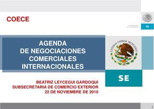 AGENDA DE NEGOCIACIONES COMERCIALES INTERNACIONALES