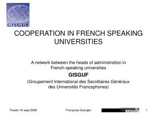 COOPERATION IN FRENCH SPEAKING UNIVERSITIES