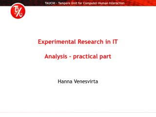 Experimental Research in IT Analysis – practical part