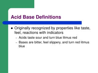 Acid Base Definitions